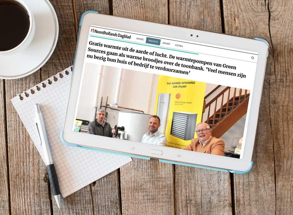 Green sources over warmtepompen in het Noordhollands Dagblad